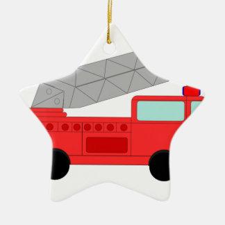 Firetruck rojo lindo adorno de cerámica en forma de estrella