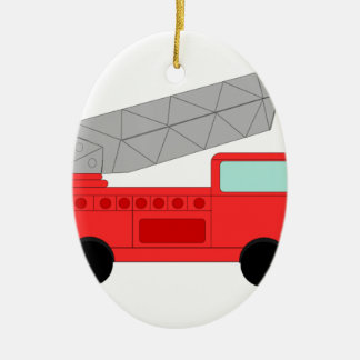 Firetruck rojo lindo adorno ovalado de cerámica