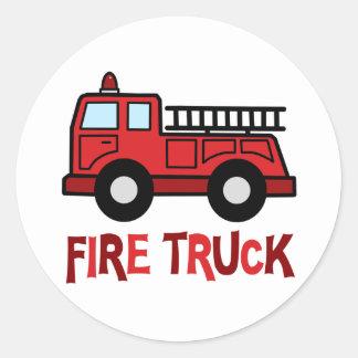 Firetruck Round Stickers