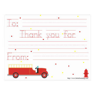 Firetruck Thank You Note (w/ traceable message) Postcard