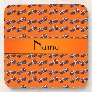 Firetrucks anaranjados conocidos personalizados posavasos de bebidas