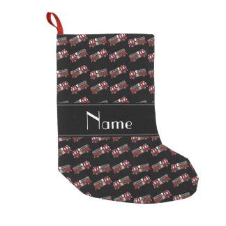 Firetrucks negros conocidos personalizados calcetín de navidad pequeño
