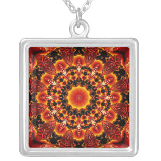 Firewalk, Abstract Spiritual Quest in Flames Square Pendant Necklace