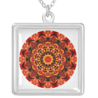 Firewalk Mandala, Abstract Spiritual Quest Square Pendant Necklace