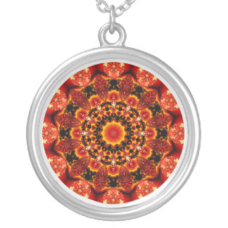 Firewalk Mandala, Abstract Spiritual Quest Round Pendant Necklace