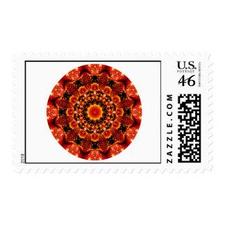 Firewalk Mandala, Abstract Spiritual Quest Stamps