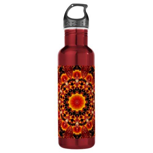 Firewalk Mandala, Abstract Spiritual Quest Water Bottle