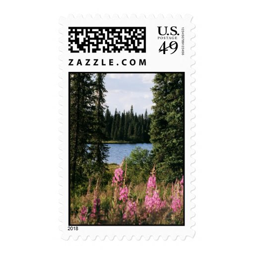 Fireweed by the Lake Postage Stamp