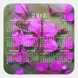 Fireweed en un huracán; Calendario 2012 Pegatina Cuadrada