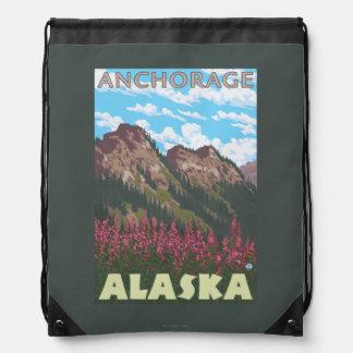 Fireweed & Mountains - Anchorage, Alaska Drawstring Bags