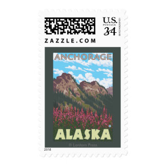 Fireweed & Mountains - Anchorage, Alaska Postage