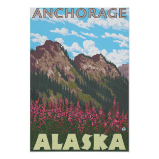 Fireweed & Mountains - Anchorage, Alaska Posters