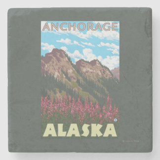 Fireweed & Mountains - Anchorage, Alaska Stone Coaster