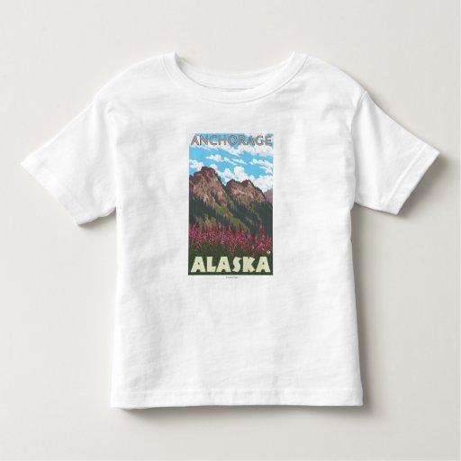 Fireweed & Mountains - Anchorage, Alaska T Shirt