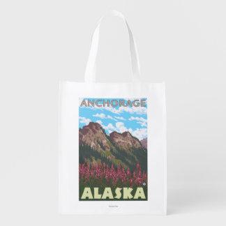 Fireweed & Mountains - Anchorage, Alaska Market Totes