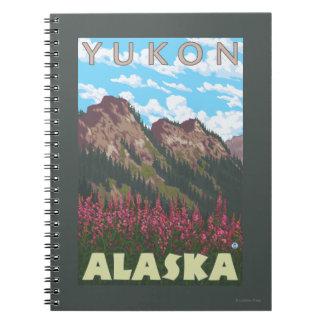 Fireweed & Mountains - Yukon, Alaska Spiral Notebook