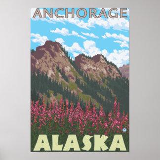 Fireweed y montañas - Anchorage, Alaska Póster