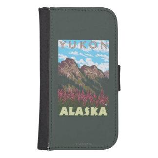 Fireweed y montañas - el Yukón, Alaska Fundas Cartera De Galaxy S4