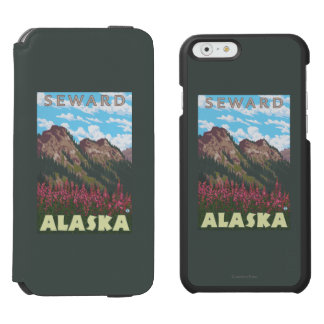 Fireweed y montañas - Seward, Alaska Funda Billetera Para iPhone 6 Watson