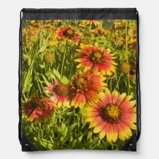 Firewheels Gaillardia pulchella) wildflowers Drawstring Backpack