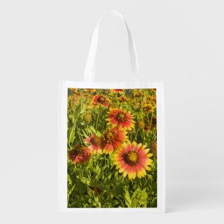 Firewheels Gaillardia pulchella) wildflowers Reusable Grocery Bag