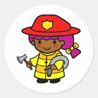 Firewoman Classic Round Sticker