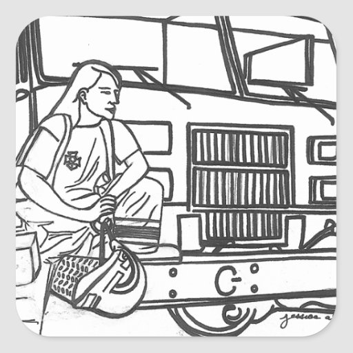 Firewoman Square Sticker