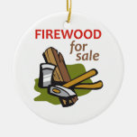 FIREWOOD FOR SALE Double-Sided CERAMIC ROUND CHRISTMAS ORNAMENT