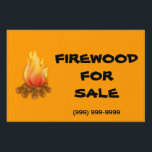 "Firewood For Sale Yard Sign<br><div class=""desc"">Firewood For Sale with a burning campfire clipart on a bright orange background.  Change background color,  as needed.</div>"