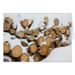 Firewood in the Snow Blank Card Greeting Card