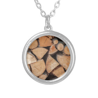 firewood round pendant necklace