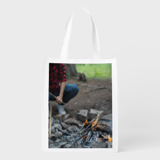 Firewood Themed, A Girl In Red And Black Shirt Wit Grocery Bag