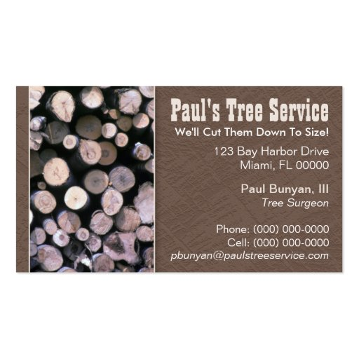 Firewood tree service business card zazzle for Tree service business cards