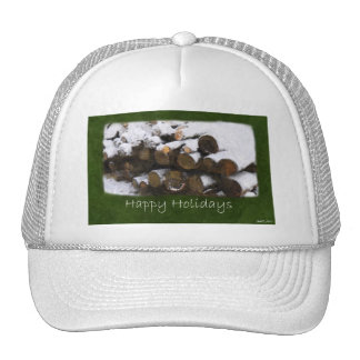 Firewood with Snow - Happy Holidays Trucker Hat