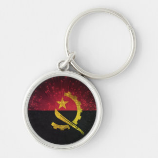 Firework; Angola Flag Silver-Colored Round Keychain