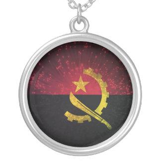 Firework; Angola Flag Round Pendant Necklace