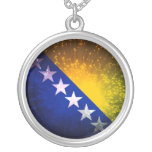 Firework; Bosnia Flag Necklace