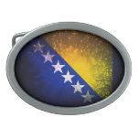Firework; Bosnia Flag Oval Belt Buckles
