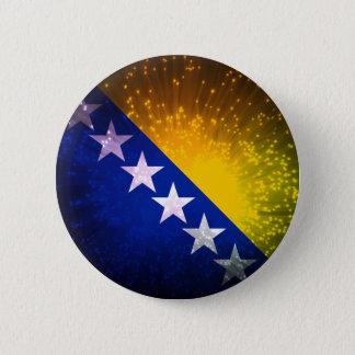 Firework; Bosnia Flag Pinback Button