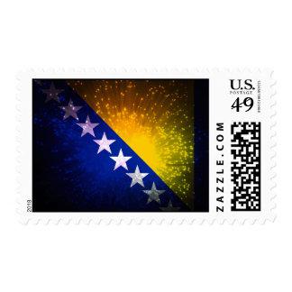 Firework; Bosnia Flag Postage Stamps
