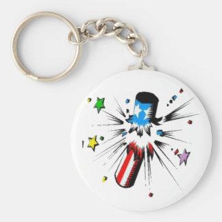 firework design basic round button keychain