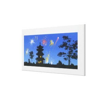 Firework display and silhouette of pagoda canvas print