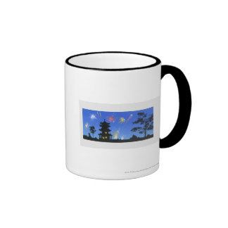 Firework display and silhouette of pagoda mugs
