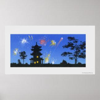 Firework display and silhouette of pagoda print
