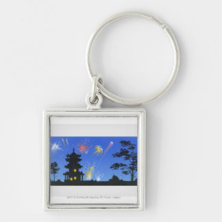 Firework display and silhouette of pagoda Silver-Colored square keychain