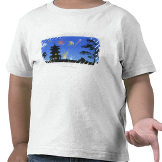 Firework display and silhouette of pagoda t-shirt