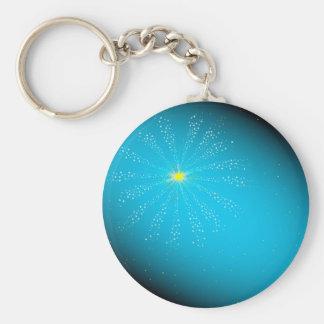 Firework On Blue Keychain