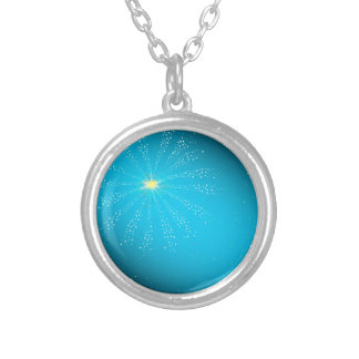 Firework On Blue Silver Plated Necklace
