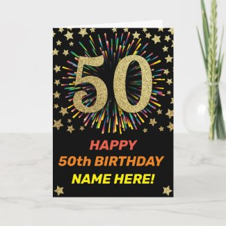 Firework Rainbow 50th Black & Gold Happy Birthday Card