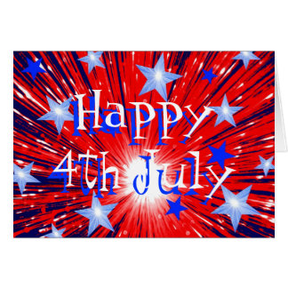Firework Red White Blue '4th July' card front text